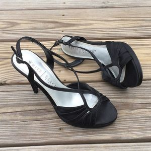 WHBM Black Satin heels crossover pleated design